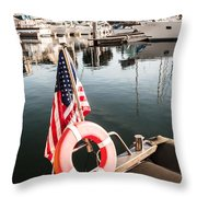 Yacht With American Flag At The Pier  Throw Pillow