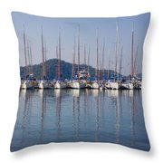 Yachts Docked In The Harbor Gocek Throw Pillow by Christine Giles