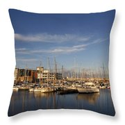 Yachts In A Marina At Sunset Throw Pillow