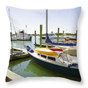 Yachts In A Port 1 Throw Pillow