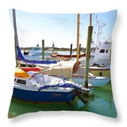 Yachts In A Port 4 Throw Pillow