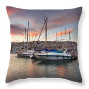 yachts in Mikrolimano marina  Throw Pillow