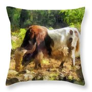 Yak Having A Snack Throw Pillow
