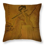Yang Plays The Flute Throw Pillow