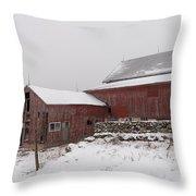 Yankee Farmlands No 19 - Winter Snow And New England Barn Throw Pillow