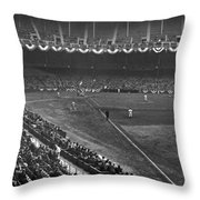 Yankee Stadium Game Throw Pillow by Underwood Archives
