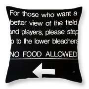 Yankee Stadium Lower Bleachers Sign Throw Pillow