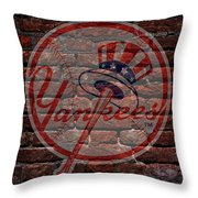 Yankees Baseball Graffiti On Brick  Throw Pillow by Movie Poster Prints