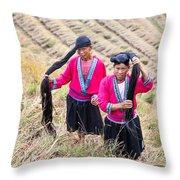 Yao Ethnic Minority Women On Rice Terrace Throw Pillow
