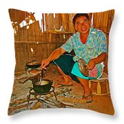 Yao Mien Tribe Man In His Home With His Cooking Pot North Of Chiang Rai In Mae Salong-thailand  Throw Pillow