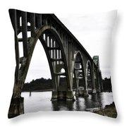 Yaquina Bay Bridge - Series D Throw Pillow