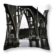 Yaquina Bay Bridge - Series J Throw Pillow