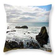 Yaquina Bay Coastline Throw Pillow
