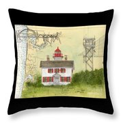 Yaquina Bay Lighthouse Or Nautical Chart Map Art Throw Pillow