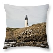 Yaquina Head Lighthouse From The Beach Throw Pillow