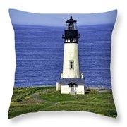 Yaquina Historic Lighthouse Throw Pillow