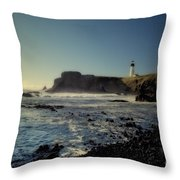 Yaquina Lighthouse And Beach No 2 Throw Pillow