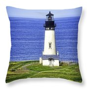 Yaquina Lighthouse From The Big Hill Throw Pillow