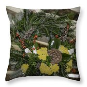 Yarrow And Lotus Wreath Squared Throw Pillow