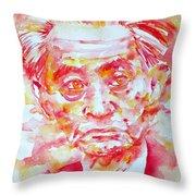 Yasunari Kawabata Watercolor Portrait Throw Pillow
