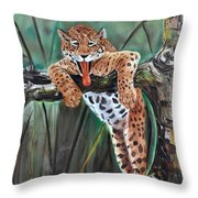 Yawning Leopard Throw Pillow