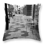 Ybor City Sidewalk - Black And White Throw Pillow