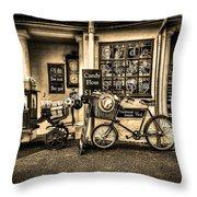 Ye Olde Sweet Shoppe Sepia Throw Pillow