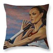 Yelena Isinbayeva   Throw Pillow by Paul Meijering