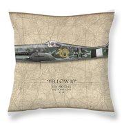 Yellow 10 Focke-wulf Fw190d - Map Background Throw Pillow