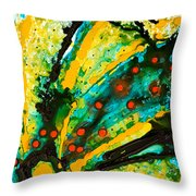 Yellow Abstract Throw Pillow by Sharon Cummings