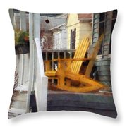 Yellow Adirondack Rocking Chairs Throw Pillow