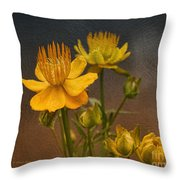 Yellow Aged Floral Throw Pillow