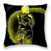 Yellow And Black Woman Throw Pillow