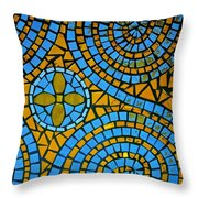 Yellow And Blue Mosaic Throw Pillow
