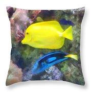 Yellow And Blue Tang Fish Throw Pillow