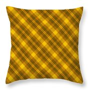 Yellow And Brown Diagonal Plaid Pattern Cloth Background Throw Pillow