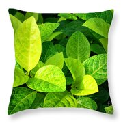 Yellow And Green Leaves Throw Pillow