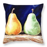 Yellow And Green Pear Throw Pillow