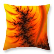 Yellow And Orange Fractal Fire Throw Pillow
