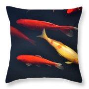 Yellow And Orange Koi Swimming Throw Pillow