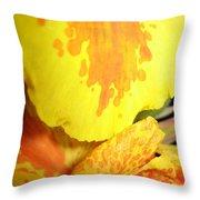 Yellow And Orange Petals Illuminated Throw Pillow