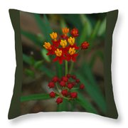 Yellow And Red Flowers Throw Pillow