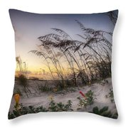 Yellow And Red Flowers On The Beach Throw Pillow