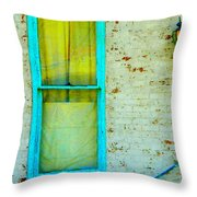 Art Deco Lamp And Yellow And Turquoise Window Throw Pillow