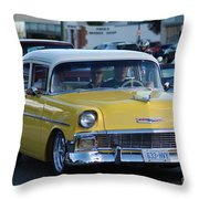 Yellow And White Classic Chevy Throw Pillow