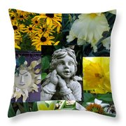 Yellow And White Flower Collage Throw Pillow
