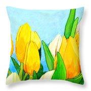 Yellow And White Tulips Throw Pillow