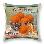 Yellow Aster Brand Oranges Vertical Throw Pillow