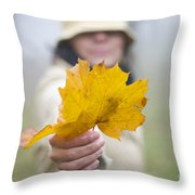 Yellow Autumn Leaf Throw Pillow