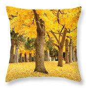 Yellow Autumn Wonderland Throw Pillow